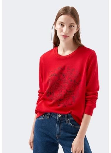 Mavi Mavi Kırmızı Sweatshirt Kırmızı
